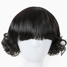 Child Wig Fei-Show Synthetic Heat Resistant Fiber Short Curly Black Hair Flat Bangs Girls Hairpiece for 50 CM Head Circumference