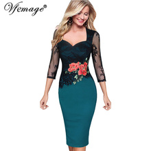 Vfemage Women Embroidered Floral See Through Lace Party Evening Bridemaid Mother of Bride Special Occasion Embroidery Dress 3198(China)