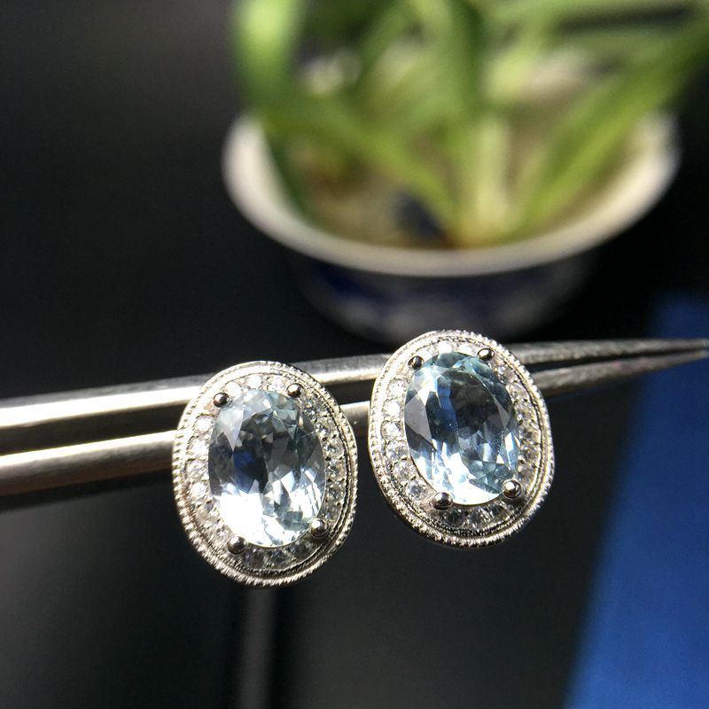 Uloveido Natural Aquamarine Earrings for Women, 925 Sterling Silver, 6*8mm*2 Pcs March Gemstone Birthstone Ring Gift FR122