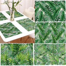 1pc Green Leaves Cotton Linen Western Pad Placemat Dining Table Insulation Mat Bowls Coasters Dinnerware Pad Kitchen Accessories