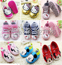 Promotion 1pair Infant Baby Hello kitty Shoes First Walker Girl Crib Shoes, antislip Kids/Newborn soft shoes, Super Quality