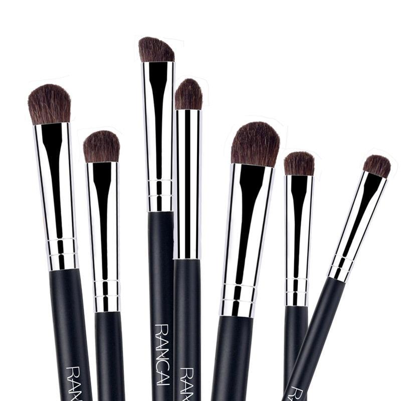 RANCAI 7pcs Eye shadow Makeup Brushes Set Natural Animal Horse Pony Soft Hair Cosmetics Blending Smudge Shader Brush Beauty Kit 12