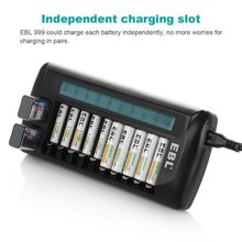 EBL 12 Bay LCD Battery Charger 9v AA AAA Rechargeable Batteries Charger New free shipping(China)