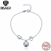 Genuine 925 Sterling Silver Femme Friendship Stamp Strand Chain Link Bracelet fpr Women Luxury Sterling Silver Jewelry Pulseira(China)