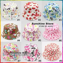 27 colors 2014 Spring Fashion girl hat,boy Unisex baby helmet hat & Cap Hot sale print cotton bucket hat #2C2748 10 pcs/lot