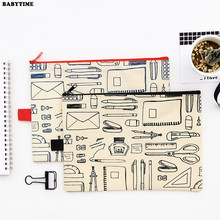 3PCS Canvas Cloth Zipper Paper File Folder Book Pencil Pen Case Bag File Document Bags Filing Products