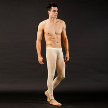Men See Through Jeans Mesh Low Rise Long johns Thermal Pants Underwear Trousers Buttons