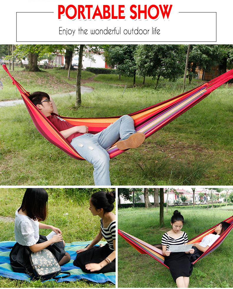 190 x 80cmPortable Outdoor Hammock Garden Sports Home Travel Camping Swing Canvas Stripe Hang Bed Hammock FREE SHIPPING 4
