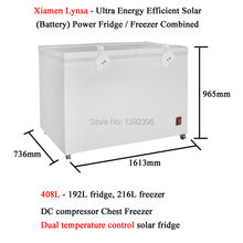 408L DC compressor Chest Freezer Ultra Energy Efficient Solar Battery Powered Fridge Freezer Combined Refrigerator