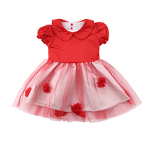 Red Blue Peter Pan Collar Dress Infant Kids Baby Girl Back Love Heart Big Bowknot Tutu Dress Summer Ball Gown Dresses Outfits(China)