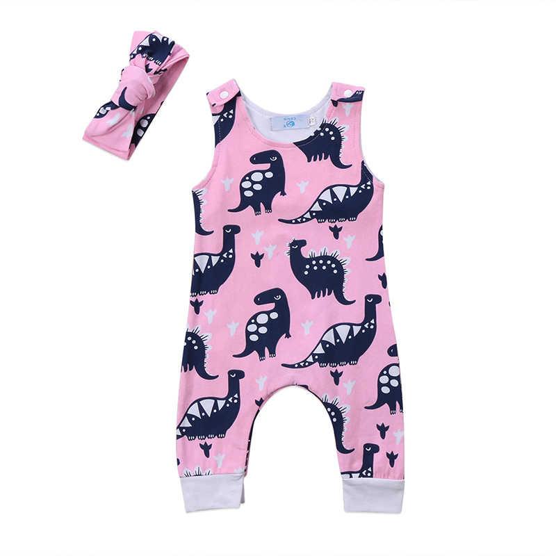 Sleeveless Back Cross Toddler Romper Infant Baby Clothes Dinosaur Printed