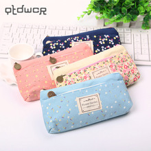 1PC School Pencil Bag Pencil Pouch Double Zipper Pure and Fresh Cosmetic Bags Office Stationery Canvas Pencil Case(China)