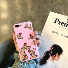 SZYHOME Phone Cases for IPhone 6 6s Plus Pink Girl Love Gestures Discounted for IPhone 7 Plus Mobile Phone Cover Case