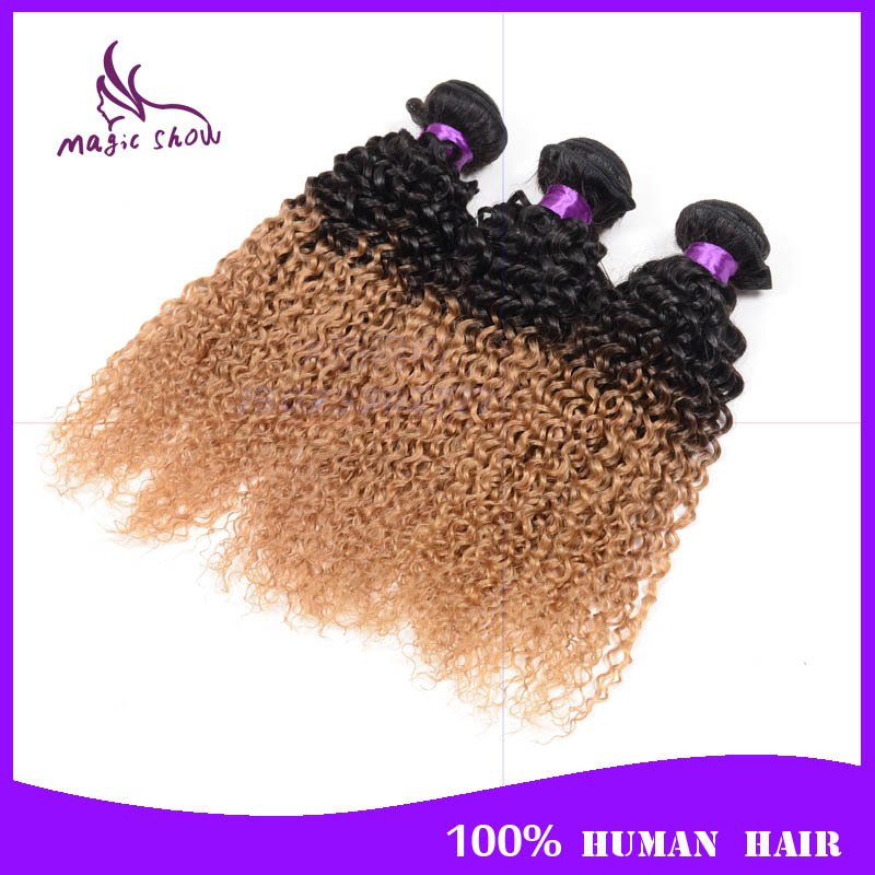 3 Bundles Ombre Peruvian Hair Kinky Curly Cheap Two Tone 1B 27 Ombre Peruvian Virgin Hair Curly Grade 7A Ombre Human Hair Weave<br><br>Aliexpress
