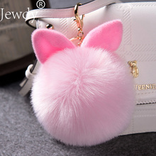 Jewdy Bunny Key Chains Pom Pom Key Rings Fake Rabbit Fur Ball KeyChain Porte Clef Pompom de fourrure Pompon Bag Charms Jewelry