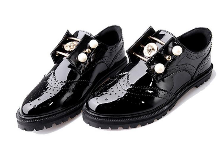 Patent PU Leather Women Beaded Low Heel Pumps New 2017 Ladies Round Toe Breathable Shoes European Fashion Free Shipping<br>