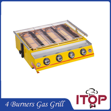4 Burners Gas BBQ Grill Barbecue Fast Delivery Camping Picnic Outdoor Smokeless Adjustable Height churrasco