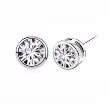 2017 smooth round zircon christmas gift import zircon stud earrings shine Crown hollow design woman girl fashon jewelry 84428(China)