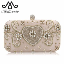 Milisente Beaded Clutches Ladies Pink Wedding Purse With Diamond Heart Shape Pearls Girls Party Bag Women Clutch Good Quality(China)