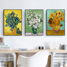 Van Gogh Oil Painting Sunflower European Flowers Canvas Wall Drawing Upscale Nordic Mural Art Poster Ornaments for Office Study(China)