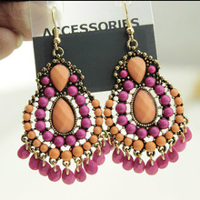 Acrylic Fashion Bohemian Vintage Style Statement Cute Resin Tassel Waterdrop Beads Dangle Earrings E352(China)