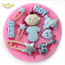 Delidge 1 pc Baby Bear Heart Star Shape Cake Decoration Mold Silicone Fondant Mold Chocolate Sugarcraft Fondant Decorating Tool