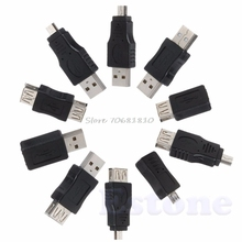 10Pcs OTG 5 Pin F/M Mini Changer Adapter Converter USB Male to Female Micro USB -R179 Drop Shipping