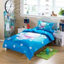 blue hello kitty cartoon comforter bedding set twin size printed bedspreads duvet cover 3/4/5pcs baby kids bedsheets linen