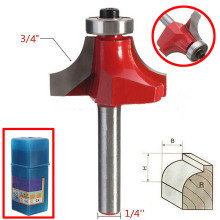 "1/4"" Shank 3/4"" Radius Woodworking Router Bit Round Over Dual Edge Cutter For Woodworking Tool"