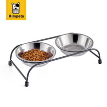 KIMHOME PET Dog Feeders Stainless Steel Dog Bowls Iron Rack Ceramic Double Bowl Lovely Pet Food Water Drink Dishes Feeder S/L
