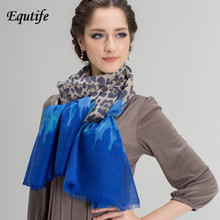 Equtife New Design Wool Scarf Contrast Color Warm Pashmina Winter Leopard Print Shawl For Women Good Quality Female Scarves 5065