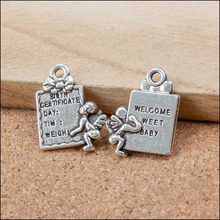 Factory price 50 Pieces/Lot 20mm*15mm Antique Silver plated baby charms tag words charm welcome weet baby For Jewelry Making