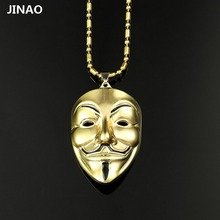 JINAO New Trend Fashion Hip-Hop Adorn Article V For Vendetta Mask Alloy Necklace, Pendant Necklace For Men And Women Fashion