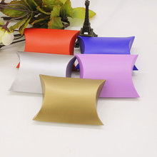 100pcs Pillow Style Favor Gift Box Kraft Paper Candy Boxes Paper Gift Box Bag Wedding Party Supply Accessories Favor