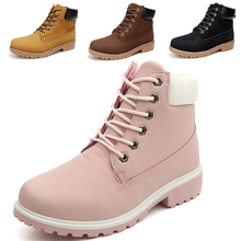 Autumn Winter Dr Yellow Lace up With leather Big Size 11 12 46 Female Boots Safety Ankle Boots Flat martin Shoe for Timber Women