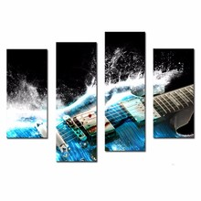 4 Picture Combination Guitar In Blue And Waves Looks Beautiful Wall Art decorations for home Painting On Canvas Music Gift\J0436