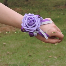 10pcs PE  Handmade Event Party Boutonniere Wedding Church Decor Corsage Artificial Rose Wrist Flower 4 Color FL5035