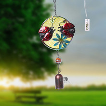 2016 Round Ladybug Plant Wind Chime Suncatcher Handmade Bell Hanging Pendant Metal Glass Outdoor Living Room Home&Garden Decor(China)