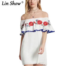LINSHOW Slash Neck Off Shoulder Embroidery Dress Mini Summer Floral Embroideries Casual loose Women Dress 2017 New Woman Dresses(China)