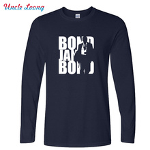 New Arrival men Long Sleeve Movie Film James Bond 007 T Shirts O Neck Fashion Cotton Male Tops T-shirts Size XS-XXL