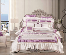 4/6/8/10-Pieces Silk  Embroidery lace Bed Set Luxury Bedding Sets King Size Queen Bed Set Duvet Cover Bed Spead