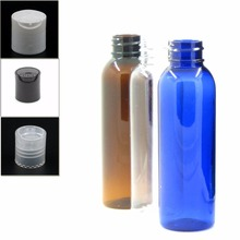 60ml empty plastic bottle, clear/blue/amber pet bottle with transparent/black/white disc top cap X 5