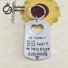 Wholesale It takes a big heart to help shape little minds Dog Tag Cut Out Heart KeyChain Teacher Gife Jewelry 20Pcs/Lot #LN1123(China)