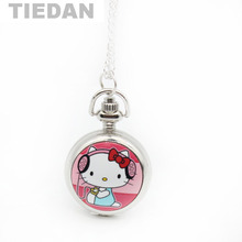 TIEDAN Brand Enamel Cute Lovely Hello Kitty Design Quartz Pocket Watch Vintage Retro Pocket Watches Quartz Watch for Female