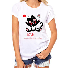 2017 HOTSALE T-shirts For Women Short Sleeve O-neck Casual Funny Black Cat Tops Tees Female Ladies T-Shirt Summer Women T Shirt