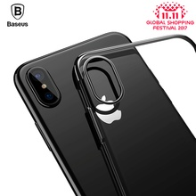 Baseus original transparent Case For iphone X 10 Cases Glitter Series Plating Hard PC Plastic Shell for iPhone X 10 Back Cover(China)