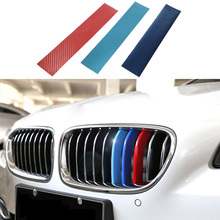 Car Styling Car Sticker 3psc/lot ///M 3D Carbon Fiber Front Grill Stripes Sticker For BMW e46 e90 e39 e60 e36 f30 X3 X4 X5 X6