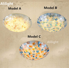 Tiffany Mediterranean Style Ceiling Lamp Natural Shell Ceiling Lights Indoor Lighting Home Decor Fixture for Bedroom Living Room
