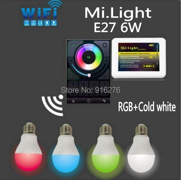 Mi Light WIFI E27 6W RGBW RGB + Cold white led bulb 2.4G LED lamp Wif ibox controller Support IOS Android APP<br><br>Aliexpress