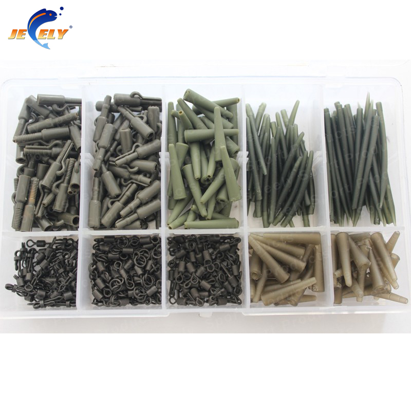 Carp fishing terminal tackle set tangle sleeves safety lead clip long body rolling swivel tail rubber 420pcs/set in plastic box<br><br>Aliexpress